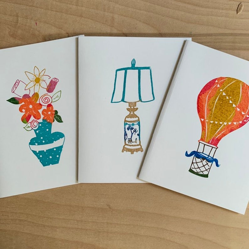 Gocco screen print flat note cards  lamp flowers or hot air image 0