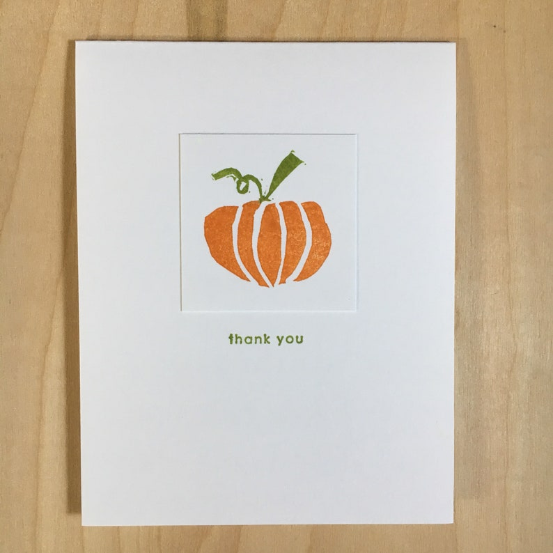 Pumpkin Thank You hand stamped note cards  A2  4 1/4 X 5 1/2 image 0