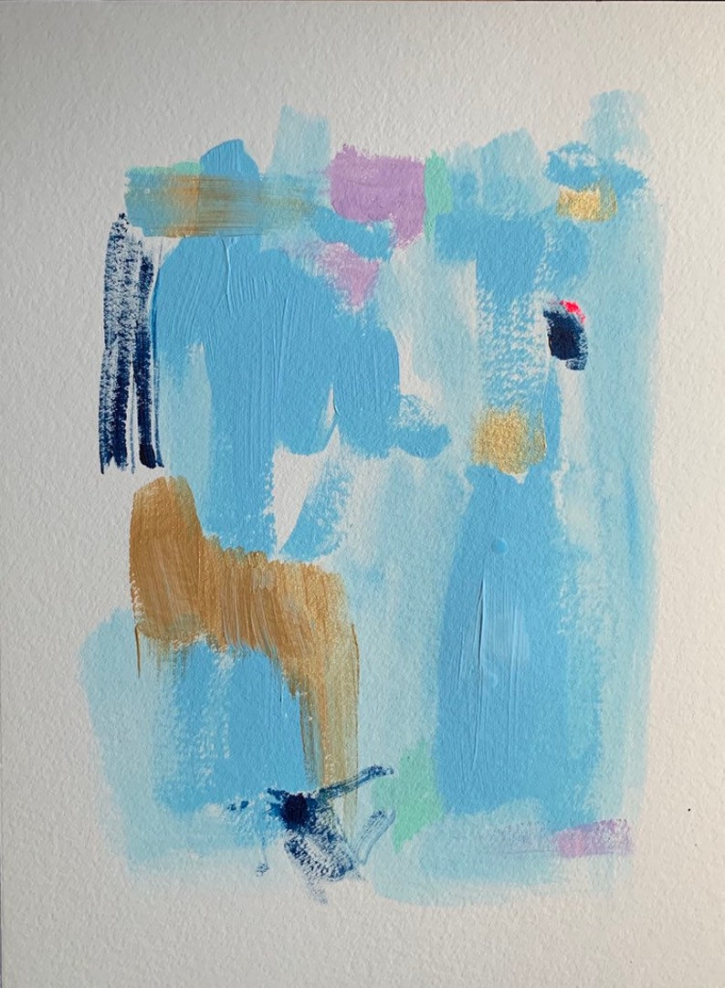 Acrylic abstract painting on watercolor paper 9 X 12 original image 0