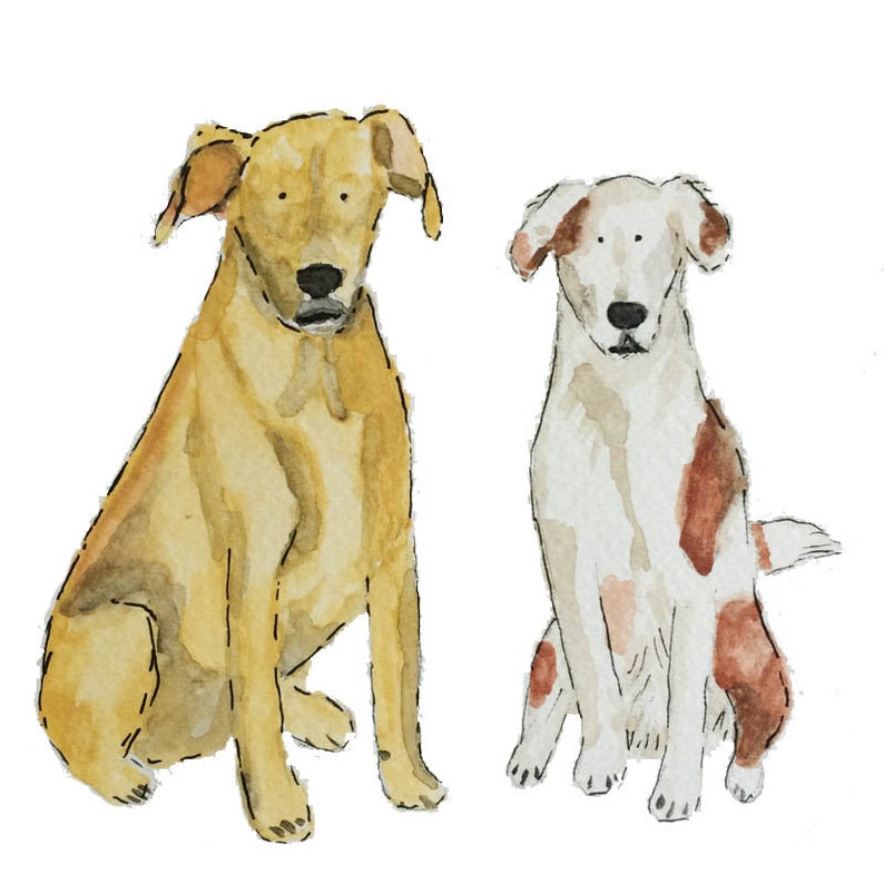 Pet Portrait for TWO pets Custom Portrait Illustration Pet image 0