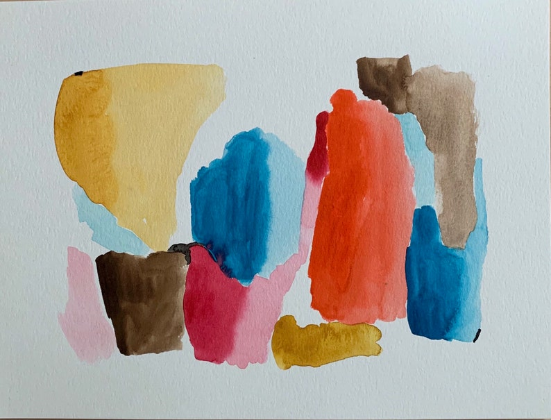 watercolor abstract painting 9 X 12 original contemporary art image 0