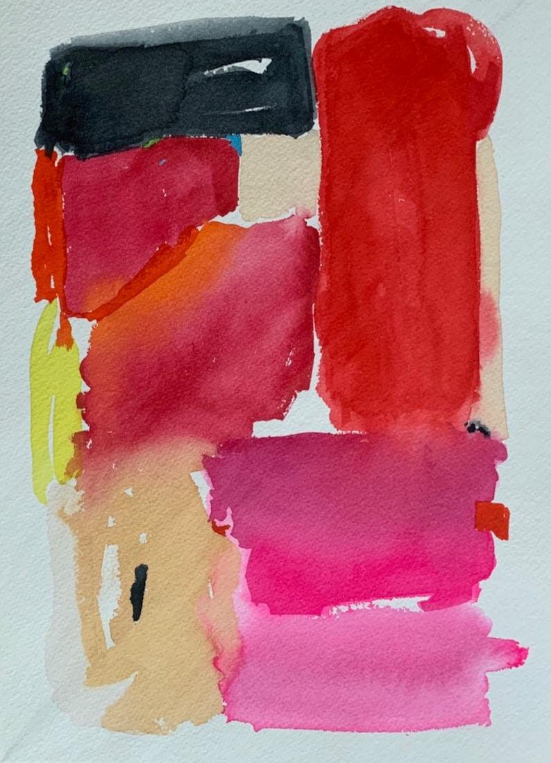 watercolor abstract landscape 9 X 12 original contemporary art image 0