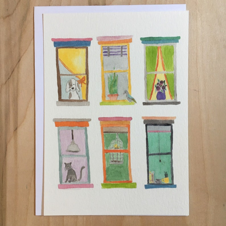 Watercolor City Windows flat note card  5 X 7 image 0