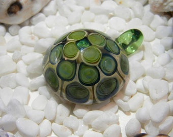 Lampwork Boro Glass pendant focal bead - ROUND DOTTED green