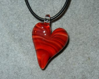 Lampwork Boro Glass Pendant - Focal Bead - HEART red