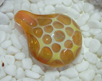 Lampwork Boro Glass pendant focal bead - HONEYCOMB gold