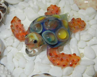 Lampwork Boro Glass Pendant - Focal Bead - SEA TURTLE amber blue