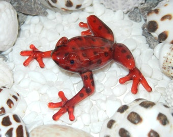 Lampwork Boro Glass FROG ruby red