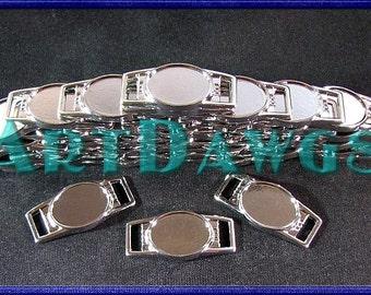 10 X Blank Gunmetal Oval Shoelace Paracord Charm 12 x 16 mm Clear Epoxy Sticker