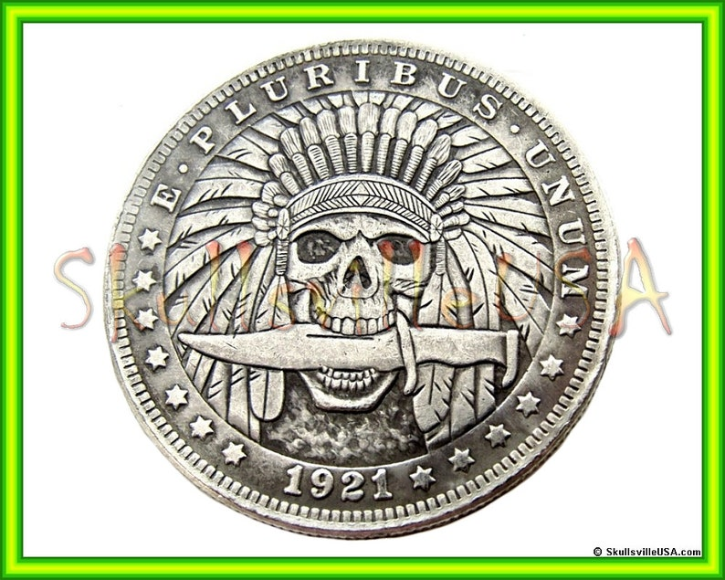 1921 Hobo Morgan Dollar Coin with Free Case - Indian Skull with Knife -  Rare Collectible Fantasy Coin