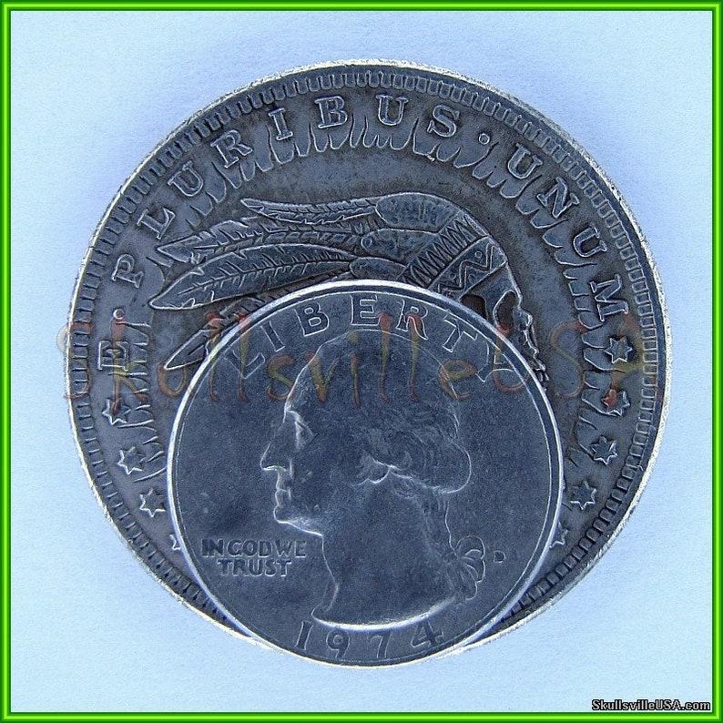 Skeleton! Rare 1921 Hobo Morgan Dollar Coin /& Free Case Indian Chief Skull
