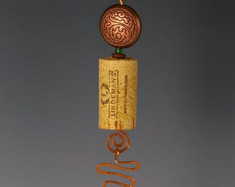 Wine Lovers Delight. Wine Cork and   Bottle Bead Sun Catcher Ornament.