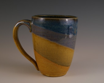 Pottery Mug, Stoneware Mug, Coffee Cup, Tea Cup, Mug in Brown, Blue and Tan