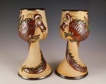 Pair of Pottery Dragon Goblets - Fantasy Dragon