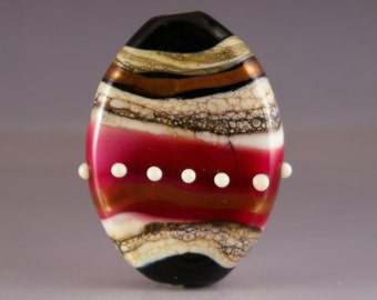 Lampwork Glass Focal Bead - tab bead in blue, white and gold