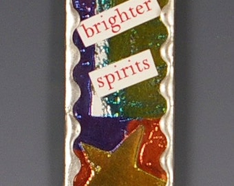 Christmas Ornament - Up-cycled  Microscope Slide Ornament - Spirit Style