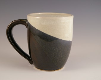 Wheel Thrown Stoneware Mug, Pottery Mug, Coffee Cup, Ceramic Mug in Black and Ivory