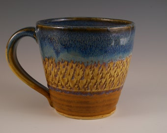 Pottery Mug, Stoneware Mug, Coffee Cup, Tea Cup, Mug in Blue and Brown