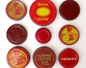 Vintage RED COFFEE JAR Lids - INSTANT COLLECTION of 9 Pieces