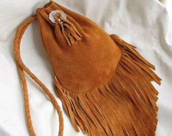 Fringed Moosehide Split Suede Pouch - Golden Brown Soft Leather - Braided Strap - Handmade