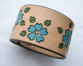 Big Blue Flowers - Wide Leather Wristband