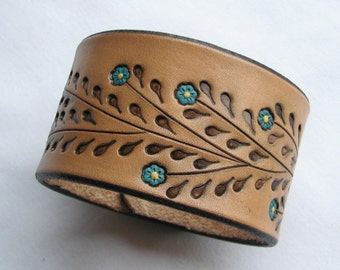 Little Blue Flowers on a Wide Leather Wristband - Leather Cuff Bracelet- Back by Popular Demand