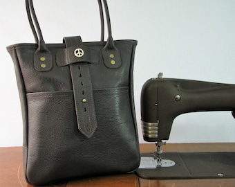 Leather Tote Bag, Dark Brown w Peace Sign, Men or Women Leather Tote Bag w Large Front Pocket, Travel, Computer or Market Bag, Ready to Ship