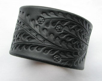 Wide Black Leather Cuff / Bracelet w Floral Vine - HandCrafted Wristband Veg Tanned Leather for Men or Women - Back by Popular Demand