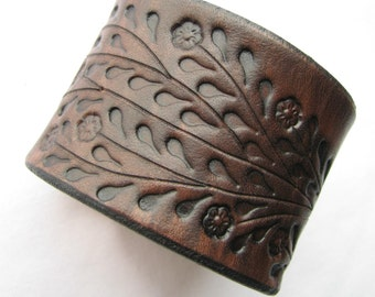 Wide Brown Leather Cuff Bracelet - Floral Vine Hand Tooled - Made of Top Quality Veg Tanned Leather- Back by Popular Demand
