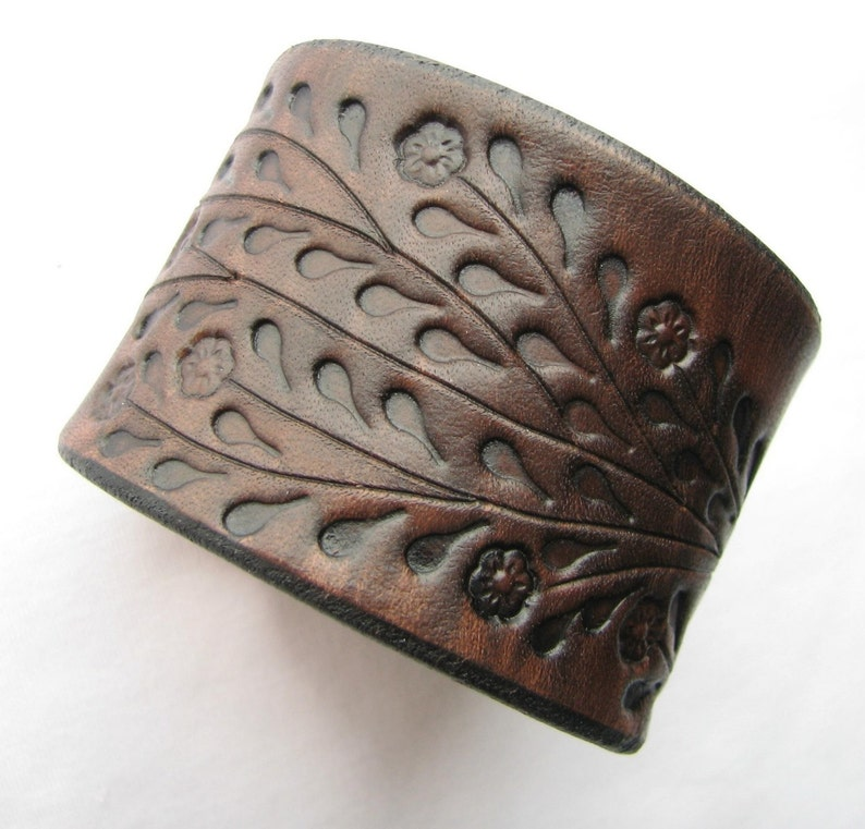Wide Brown Leather Cuff Bracelet  Floral Vine Hand Tooled  image 0