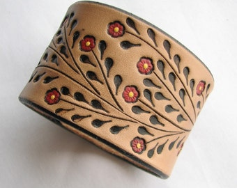 Leather Wristband Bracelet w Little Red Flowers - Hand Tooled Wide Cuff- Back by Popular Demand