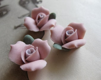 4 PC Antique Rose Porcelain Flower Cabochon / German Bisque - 17 mm