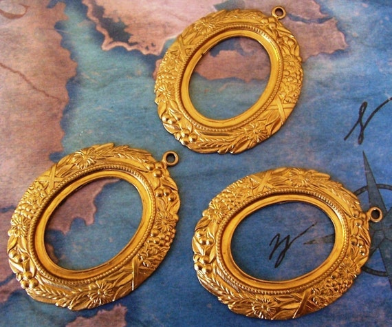 2 PC Raw Brass Victorian Oval Cabochon  Cameo Frame Mount Setting R0373