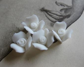 4 PC Snow White Porcelain Flower Cabochon / German Bisque - 8 mm