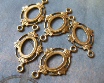 4 PC Victorian Oval Cabochon / Cameo Connector setting 8x6 mm - RR05