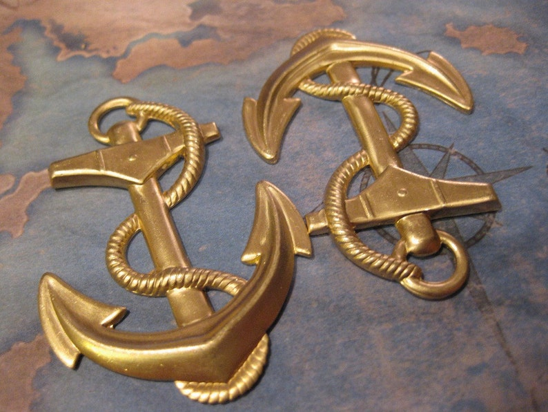 1 PC Extra Large Raw Brass Nautical  Ship Anchor and Rope Pendant SS02