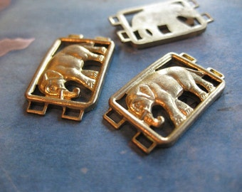 2 PC Raw Brass Elephant Bracelet / Necklace Link Finding 10 x 15 mm - S0404