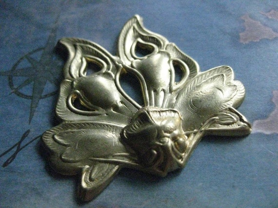 1 PC Large Raw Brass Nouveau Lace Wing Butterfly 0007T