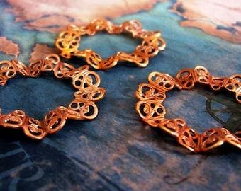 2 PC Raw Brass Ruffled Victorian Filigree Ring/Circle Jewelry Finding - G0152