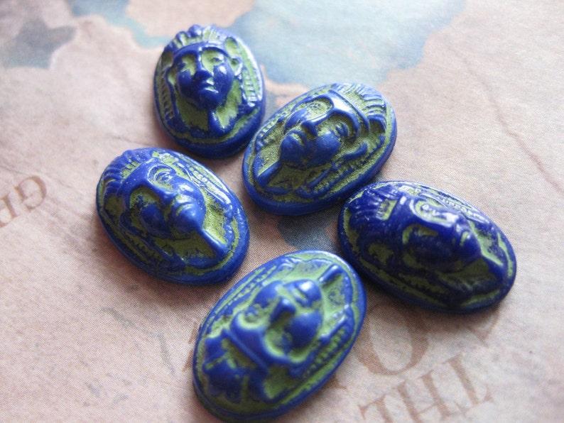 4 PC Vintage Cobalt Blue Czech Glass Egyptian Revival Pharaoh Cameo  16 x 11 mm II10