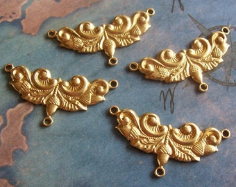 2 PC Raw Brass - Edwardian Acorn Pattern / Three-Way Jewelry Finding - J0211