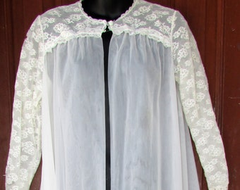 Vanity Fair LACE Robe Vintage SHEER White 2 Layer Long Sleeve Full Length Lounge Housecoat Lingerie S
