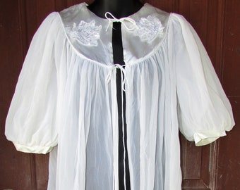 Vintage SHEER White Robe 2 Layer Short Puffy Sleeves Full Swing Lingerie 38 M