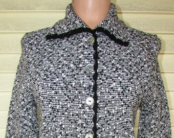 50's Wool Cardigan Sweater Vintage 1950s Womans Black/white Scallop Trim Rockabilly Long Sleeve S/M