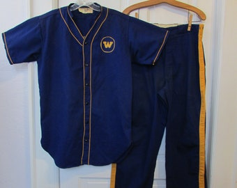 9ef85bd6909 Vintage Antique Baseball Uniform 193-40 s TOPPS Sanforized Men s Baseball  Blue Gold Shirt Pants 44
