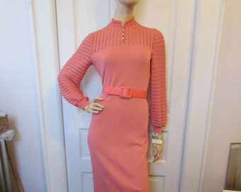 a1f8a2e9d5 Vintage Castleberry Knit Dress Coral Ribbed Long Puff Sleeve Sheath Belt  Office Wiggle Party