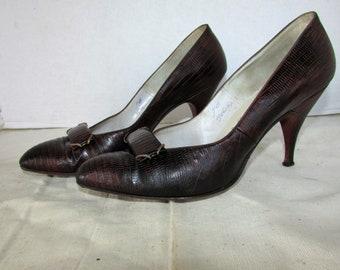77f84a11648 1940 s Alligator Pumps Shoes Vintage PALIZZO Lizard Alligator High Stilettos  Heel 7 B FREE SHIPPING