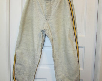 8ae880a7ff2 Vintage Baseball Knicker Pants Antique 1930-40 s Men s Baseball Gray  Flannel Wool Blue Gold Stripe Uniform 30