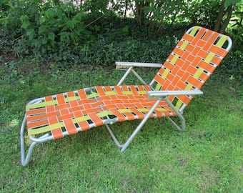 Image result for orange chaise lounge outdoor folding 1960