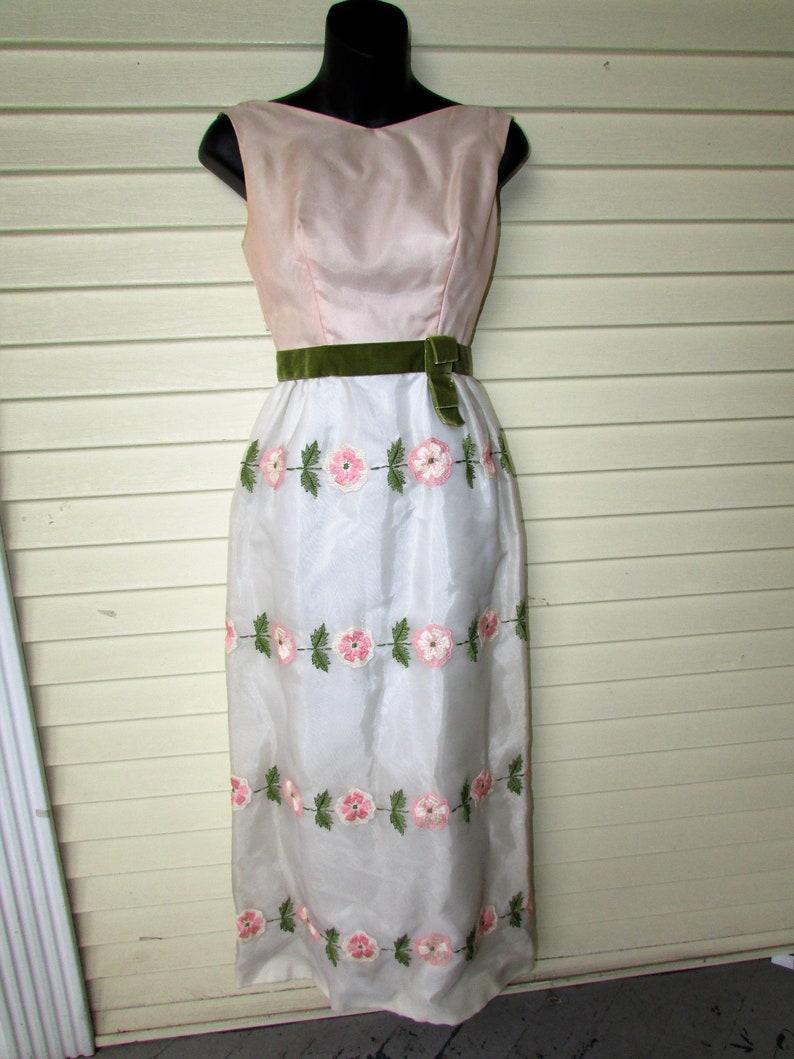 465cd5d269 60 s Prom Maxi Dress Vintage 1960 s Pink Green Pencil